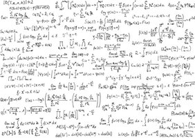 Handwritten equations on a piece of paper.