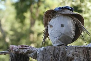 A homemade scarecrow is a fun family project.