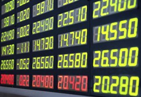 Digital display board showing stock market prices.