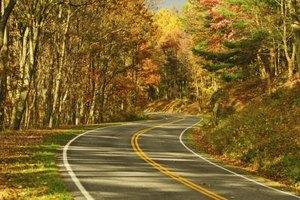 Skyline Drive winds through colorful forests in autumn.