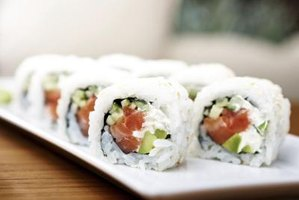 Close-up of sushi rolls