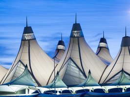 The peaked roof architecture of Denver International Airport reflects the region's snowcapped mountains.