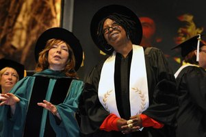 Dr. Paula Wallace, president of SCAD, with honorary doctoral awardee Whoopi Goldberg, in 2011.