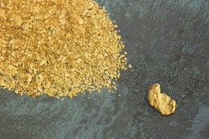 Close-up of small gold nuggets