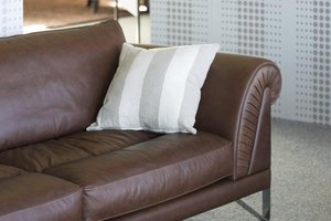 A quality leather sofa in a furniture showroom.