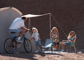 Awnings create shade for comfort at desert campsites.