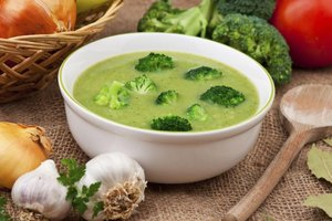 Top the prepared soup with crisp-tender cooked broccoli florets.