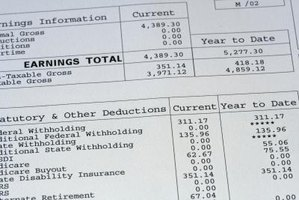 A close-up of figures on a payroll stub.