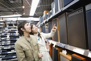 Young couple shopping in an electronics store