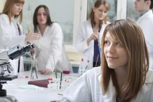 Variety of students in laboratory of medical school