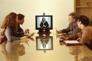 Internet Protocol multicasting is used to broadcast video-conferencing data streams