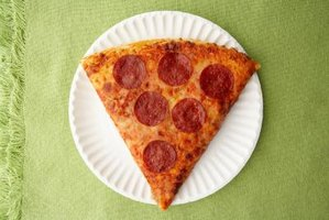 One slice of pizza is a fraction of the whole pizza.