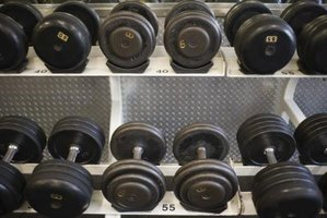 A line of dumbbells is racked up.