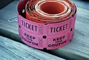 A roll of raffle tickets on a bench.
