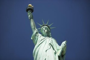 Lady Liberty's face is more than 8 feet tall.