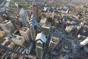 This is a bird's eye view of Philadelphia, as shown in this arial photograph.