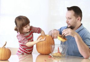 Allow an adult to do the carving; the kids can help with the messy work.