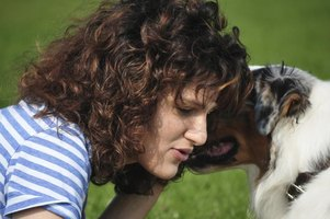 A close-up of a woman calming her dog outside.