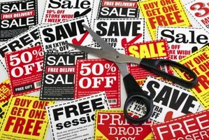 Coupons use distinctive borders and type treatments to make their sales message prominent.