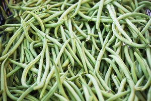 Green beans for sale at a market.