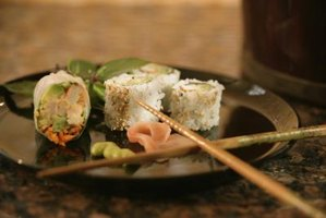 Sushi generally refers to rolls of seaweed encasing rice, fish and vegetables.