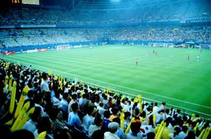 Fans cheering in a stadium at a professional soccer game.