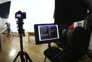 Image of a studio set with a camera on it.