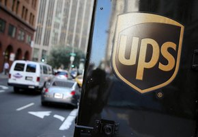 Close-up of UPS logo on truck