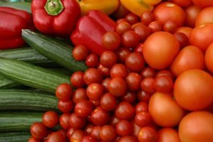 Vegetables that traditionally go in meals or salads, like tomatoes, make nutritional snacks.