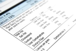 Close-up of nutritional label.