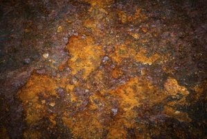 Oxidated metal surface covered in rust