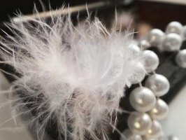 A close-up of a white feather and a string of pearls in a wooden box.