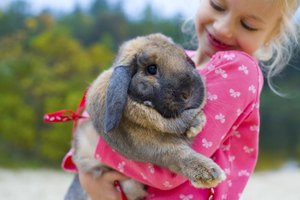 A young girl holding her pet bunny outside.