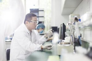 Biochemists working in laboratory