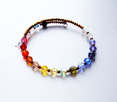 A rainbow faith bracelet made of crystal beads.