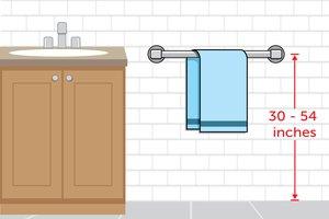 height of towel bar in bathroom gave