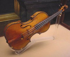 A Stradivarius on display in the Palacio Real in Madrid.