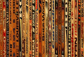 The sharp designs of hockey sticks can create intriguing furniture.