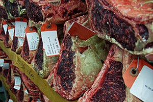 Beef being dry aged commercially.