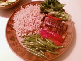 Grilled salmon with brown rice