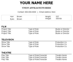 Create your professional acting resume