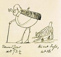 Lithograph of Edward Lear and his Cat Foss