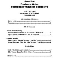 Make a Portfolio Table of Contents
