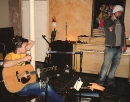 "Singer/songwriter Tom McRae (left) pauses while recording music for the Norwegian film ""Uno."""