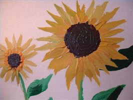 Acrylic sunflowers by the author
