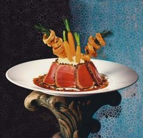 The red flesh of seared ahi tuna gives this dish a beautiful presentation.