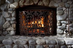 Natural stone fireplace.