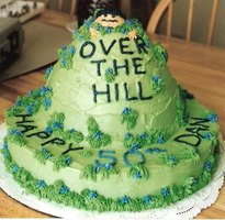 A creatively themed cake is a must-have at an over-the-hill party.