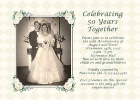 Use a wedding photo of the 50th anniversary couple for the party invitations.