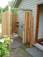 Outdoor showers are a creative way to keep dirt out of the house.